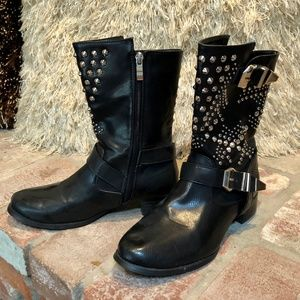 Silver Spiked Buckle Accent Ankle Bootie B…